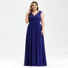 Grande taille robes de bal a ligne col en v sans manches froncé Appliques élégant mousseline de soie formelle robes de soirée Vestido Gala Mujer 2020