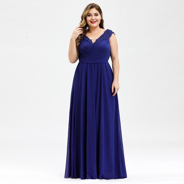 PlusขนาดProm Dresses A Line VคอแขนกุดRuched Appliques Elegantชีฟองอย่างเป็นทางการGowns Vestidoสำหรับเด็กMujer 2020