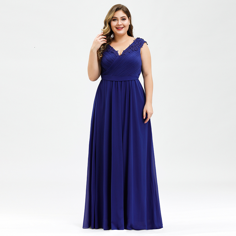 Plus Size Prom Dresses A-Line V-Neck Sleeveless Ruched Appliques Elegant Chiffon Formal Party Gowns Vestido Gala Mujer 2020