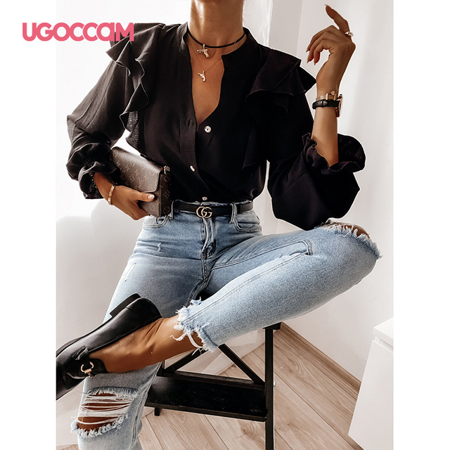 UGOCCAM Women Blouse Office Ladies Sexy Ruched Shirts Autumn Long Sleeve Elegant Casual Solid Shirts Tops Plus Size Tops Ropa Mu 3