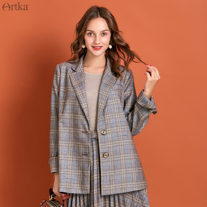 ARTKA 2019 Autumn New Women Suits Vintage Plaid Single Breasted Blazer Set Blazers Jacket With Pleated Skirts Women WA10291Q
