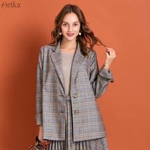 ARTKA 2020 Spring New Women Suits Vintage Plaid Single Breasted Blazer