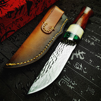 PEGASI High-end 67-layer Damascus hammer sharp tactical straight knife art collection gift knife defensive straight knife damascus steel outdoor tactical straight knife boutique collection knife high hardness self defense straight knife