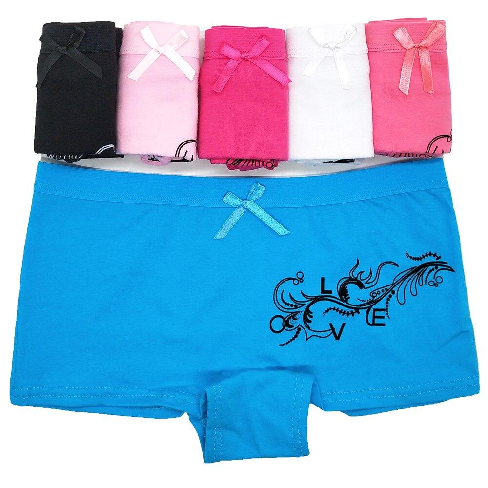 3pcs/loy Sexy Panties for Women Cotton Boyshort Female Underwear Lingerie Low Waist Lady Short pants Floral Print Boxer Briefs