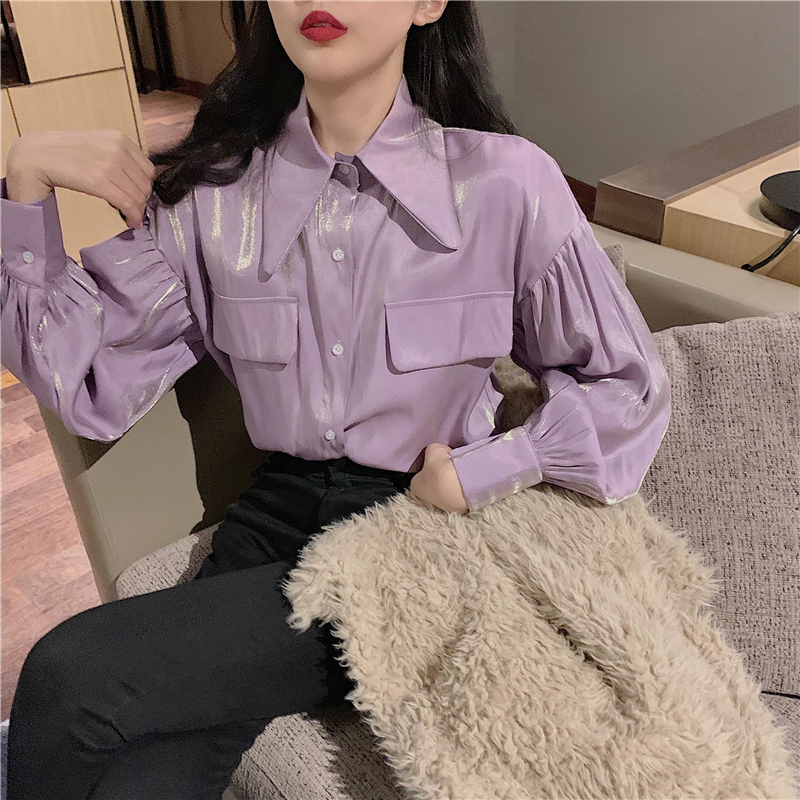 Girls Reflecting Blouses Shirts Tees Female Shinning Satin Chic Purple Blouses Tops For Women 2020