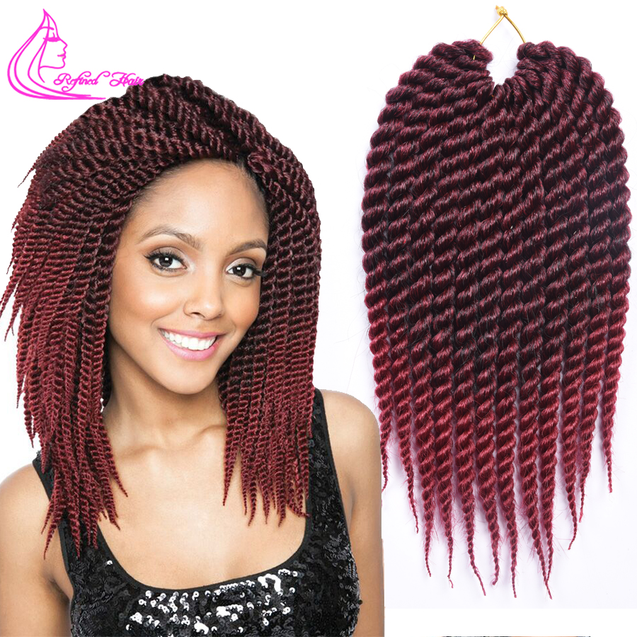 Refined Hair 12 18Inch 12Roots Havana Mambo Twist Crochet Braids Ombre Synthetic Braid For African Braiding Hair Weave