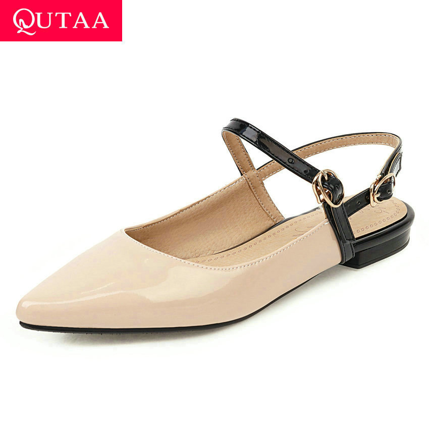 QUTAA 2020 Pointed Toe Buckle Summer Ladies Pumps PU Leather Shallow Women Shoes Square Low Heel Slingback Sandals Size 34-43