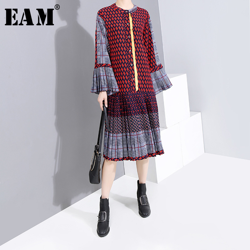 [EAM] Women Pattern Printed Pleated Dress New Stand Collar Long Flare Sleeve Loose Fit Fashion Tide Spring Autumn 2020 1H569