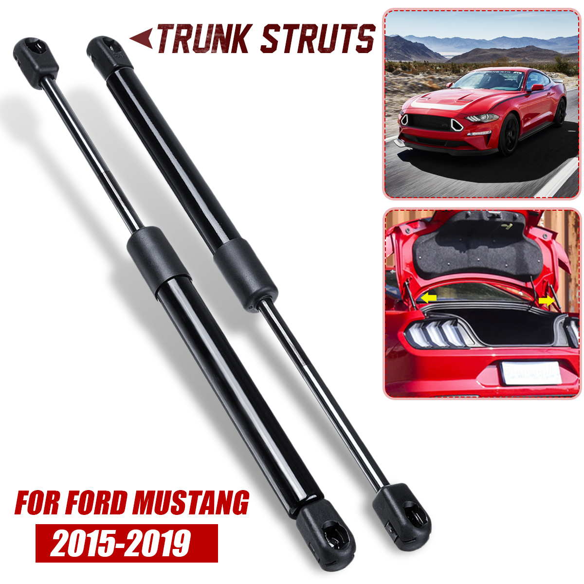 2X Rear Trunk Tailgate Boot Gas Spring Shock Lift Strut Struts Support Bar Rod For Ford For Mustang 2015 2016 2017 2018 2019