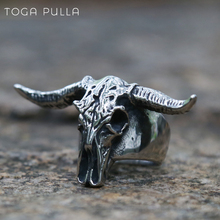 2020 New Goat Head Skull Rings Mens Gothic Animal Rings Baphomet Demon 316L Stainless Steel Punk Rock Biker Jewelry wholesale high quality mens punk 316l stainless steel pentagram star rings for men biker finger rings rock jewelry us size 9 12