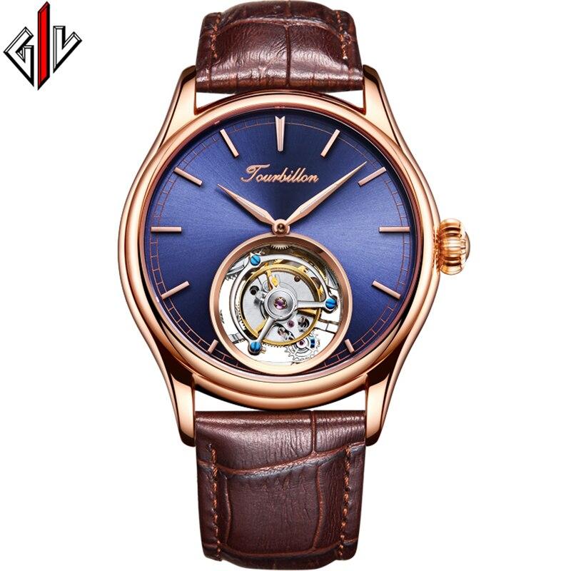GIV 100% Original Tourbillon Mechanical Business Men's Watches Top Brand Luxury Clock Men Skeleton Sapphire Relogio Masculino  A