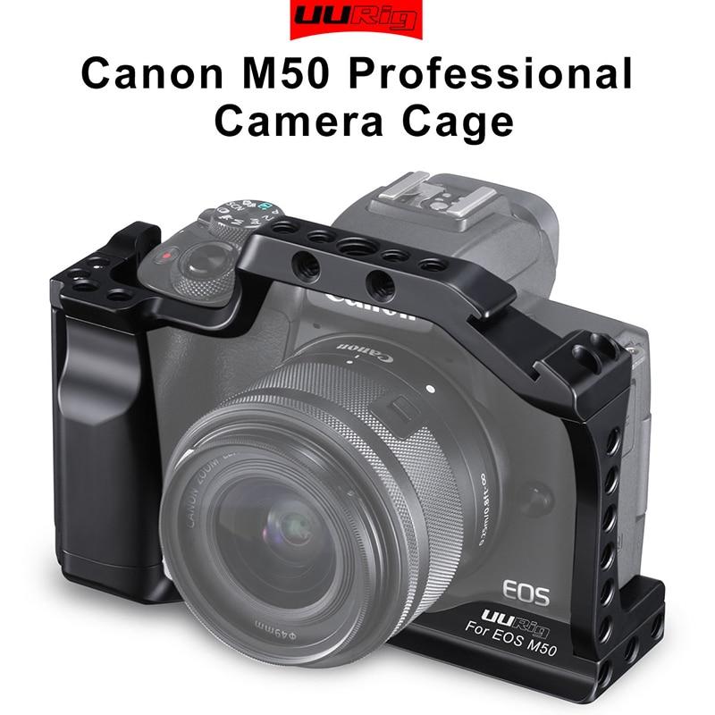 UURig DSLR caméra Cage pour Canon EOS M50 M5 boîtier avec monture de chaussure froide Arca couvercle de dégagement rapide pour accessoire vidéo Vlog