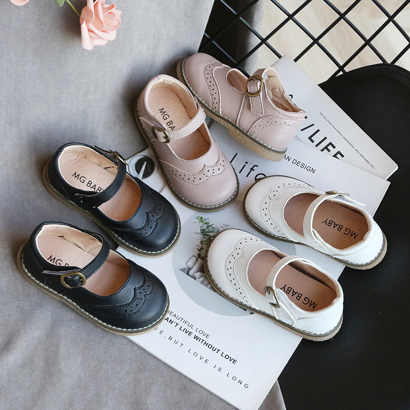 CAPSELLA KIDS Leather Shoes for Baby Girls Soft Bottom Casual Shoes Kids Girls Princess Dress Shoes Toddler Dance Shoes Sneakers