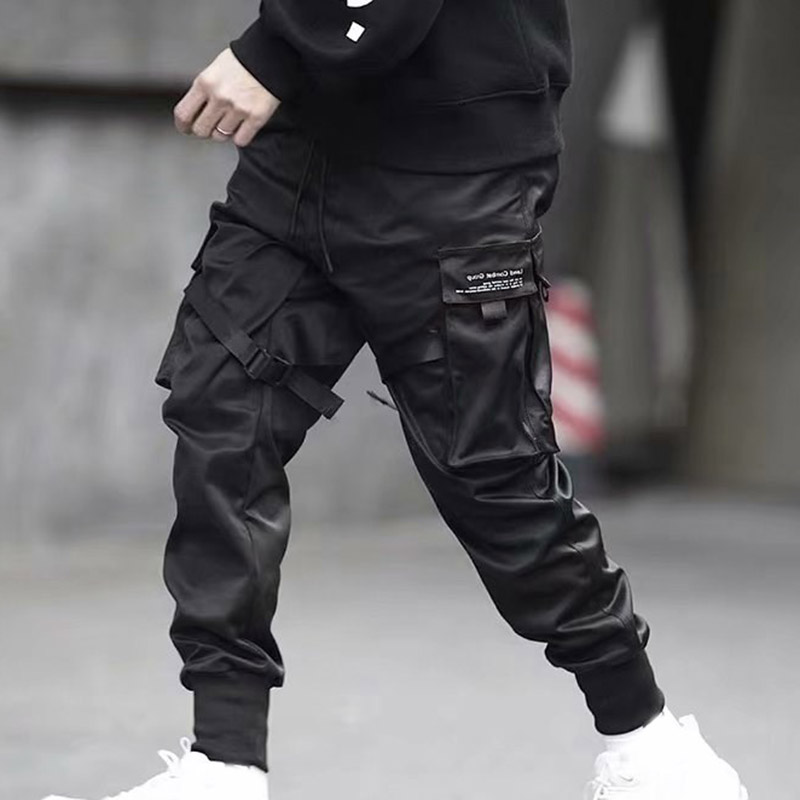 Fashion 2019 New Men Cargo Pants Ribbons Harem Joggers Harajuku Pants Sweatpant Hip Hop Trousers Men Pantalones Hombre