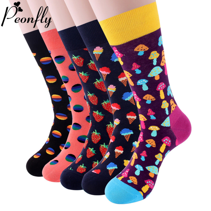 PEONFLY Colorful Cotton Men's Socks Funny Mushroom Strawberry Geometric Calcetines Happy Casual Skate Harajuku Socks