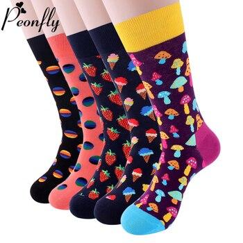 PEONFLY Colorful Cotton Men's Socks Funny Mushroom Strawberry Geometric Calcetines Happy Casual Skate Harajuku - discount item  25% OFF Men's Socks