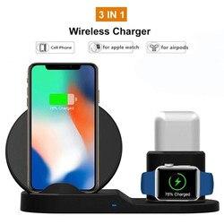 Bezprzewodowa ładowarka qi 3 w 1 dla iPhone 11 pro uchwyt telefonu stojak do bezprzewodowego ładowania dla apple watch 4 stacja dokująca ładowarki airpods Ładowarki bezprzewodowe    -