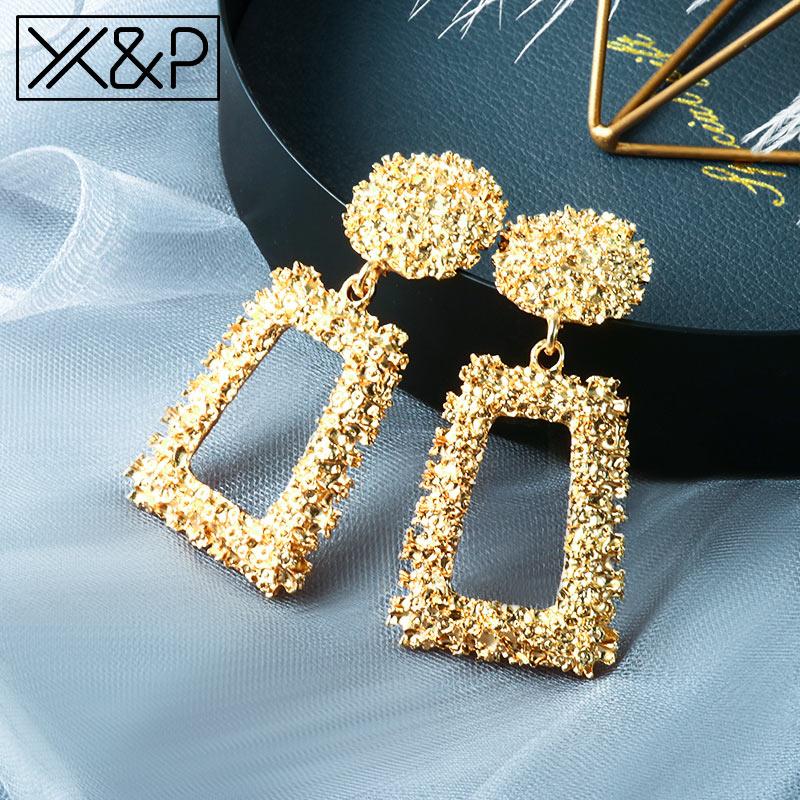X&P 2019 Hot Women Earrings Gold Drop Earrings For Women Statement Big Geometric Hanging Dangle Earring Brincos Vintage Jewelry
