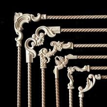 Винтажная Неокрашенная древесина наклейки с резьбой угловая аппликация, рама для домашней мебели настенные двери шкафа декоративные деревянные миниатюрные ремесла