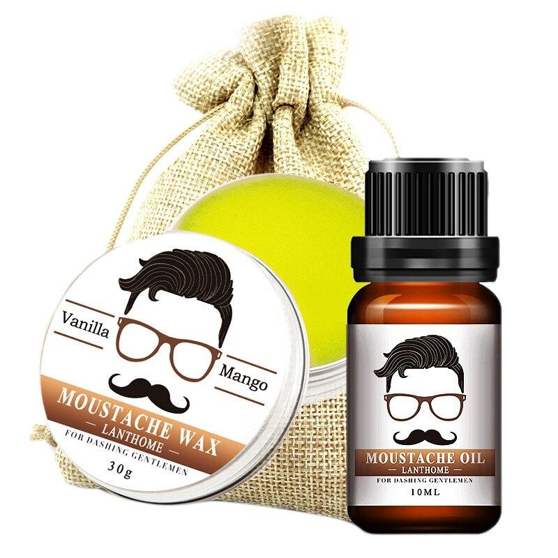 LANTHOME 2Pcs/Set Men Moustache Cream Natural Organic Beard Growth Oil for Men Beard Grooming Treatment Men Beard Kit