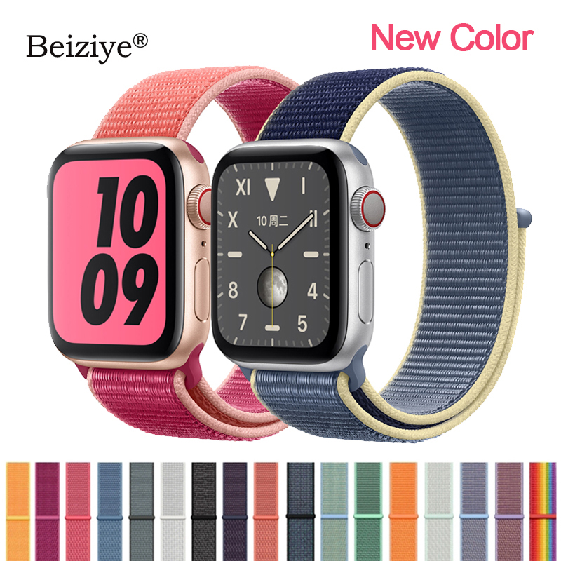 Nylon Loop Sports Strap For Apple Watch Band 4 5 40mm 44mm Nylon Soft Woven Bracelet For IWatch Band 38mm 42mm Series 5 4 3 2 1