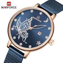 Naviforce relógio feminino de luxo, relógio de quartzo de malha de aço inoxidável impermeável casual para meninas de 2020, marca de luxoRelógios femininos