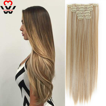 MANWEI Clips In Hair Extentions Women Natural Extensions 6 Pcs/Set 16 Colors 22 Inch Synthetic Piece