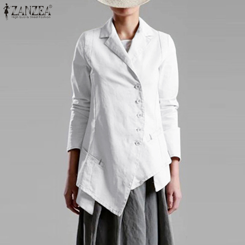 2020 Fashion ZANZEA Elegant Lady Blazers Women's Jackets Asymmetrical Hem Blazer Single Breasted Suits Outwear Coats Plus Size