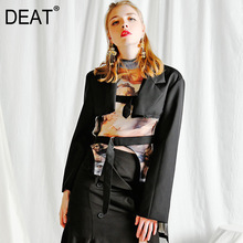 DEAT 2020 NEW spring turn-down collar full sleeves waist betls vintage tassels asymmetrical short