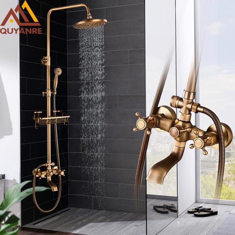 Quyanre Antique Brass Shower Faucets Set 8'' Rainfall Shower Commodity Shelf Dual Handle Mixer Tap Swivel Tub Spout Bath Shower