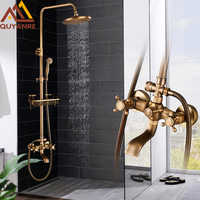 Quyanre Antique Brass Shower Faucets Set 8'' Rainfall Shower Commodity Shelf Dual Handle Mixer Tap Swivel Tub Spout Bath Shower