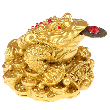 Feng Shui Toad Money LUCKY Fortune Wealth Chinese Golden Frog Toad Coin Home Office Decoration Tabletop Ornaments Lucky|Figurines & Miniatures|   -