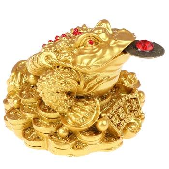 Feng Shui Toad Money LUCKY fortuna y riqueza Rana Dorada china, sapo Coin decoración de la oficina en el hogar adornos de mesa suerte