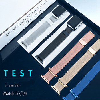 Milanese Loop band For Apple Watch Strap Watch 3 band 42mm 38 mm Stainless steel bracelet watchband for Apple watch 4 44mm 40mm hoco 42mm watchband steel stainless metal strap classic buckle adapter watch bands for apple watch