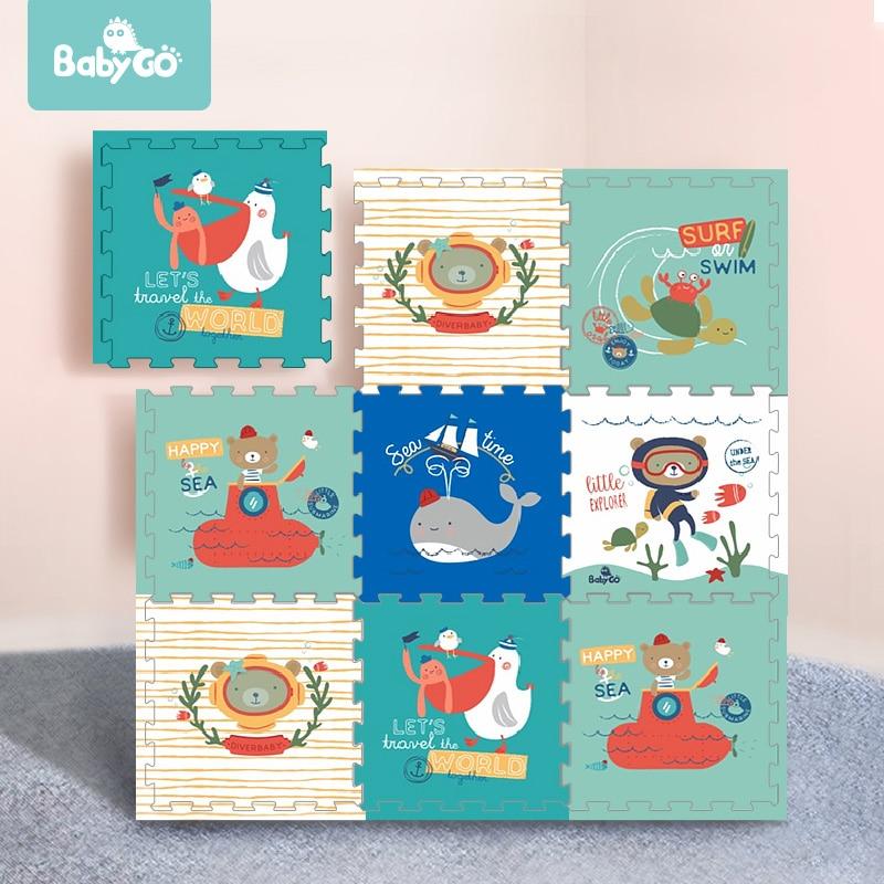 BabyGo bébé ramper tapis épaissi 2cm insipide XPE mousse 6 pièces tapis de jeu enfants salon dessin animé antidérapant jeu jouets tapis