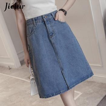Jielur Kpop Oversized Summer Female A-line Skirts Solid Color Sweet Blue Denim Skirt Women Hipster Split Jeans Saias S-5XL sweet style solid color button embellished women s suspender skirt