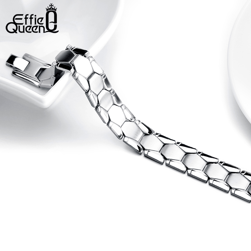 Effie Queen Top Grade Stainless Steel Men's Bracelet Hand Chain Charming Fashion Jewelry For Men&Boy Gift 22CM IB77