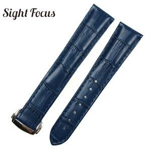 Image 3 - Black Brown Blue Watch Band for Omega Leather Band De Ville Seamaster Speedmaster Strap 19mm 20mm 21mm Deployment Clasp Bracelet