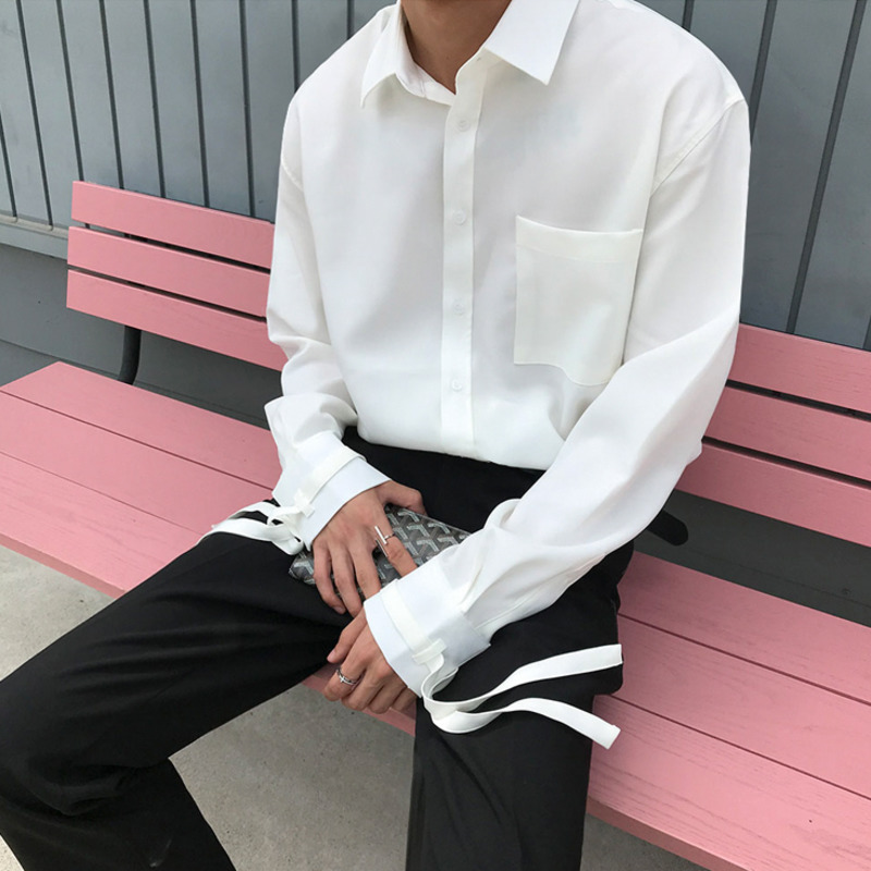 EWQ / Men's Wear 2020 Spring Fashion New White Red Shirt Male Trend Handsome Bandage Cuff Long Sleeve Tops Casaul Design 9Y878