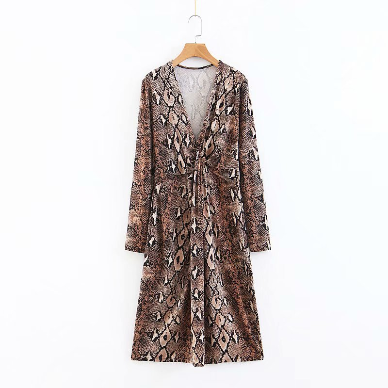2018 Autumn New Style WOMEN'S Dress Western Style V-neck Chest Knotted Snakeskin Printed Mid-length Dress Women's