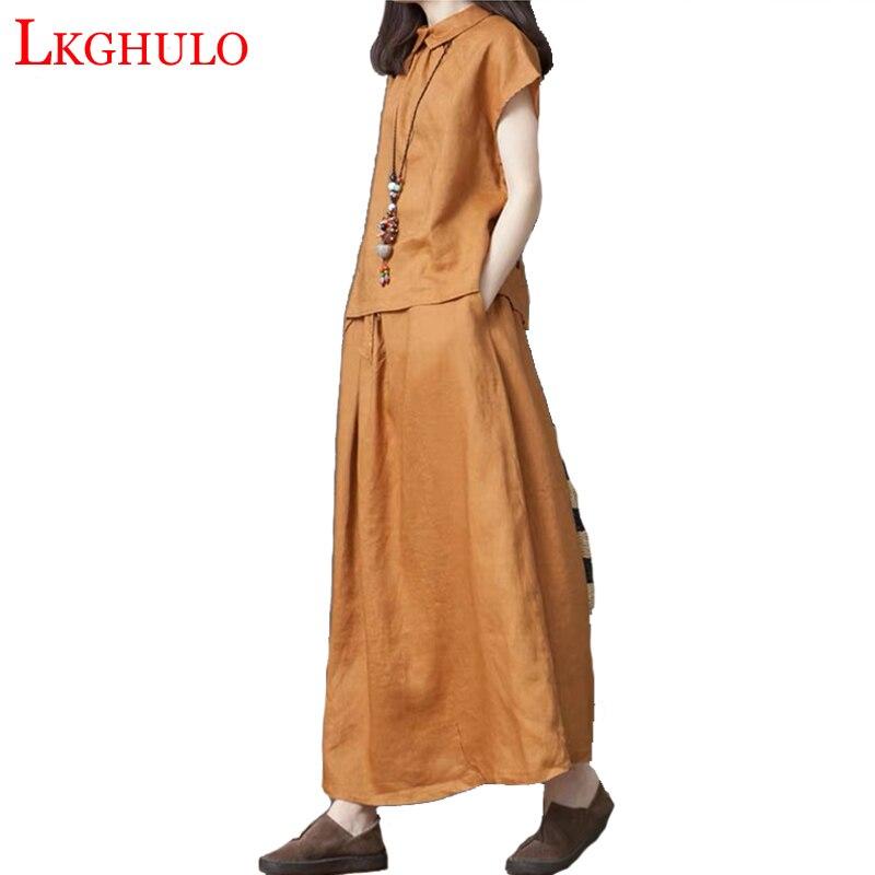 2019 été coton lin à manches courtes + jupe longue costume dame décontracté lâche Style femmes deux pièces ensemble femme W842