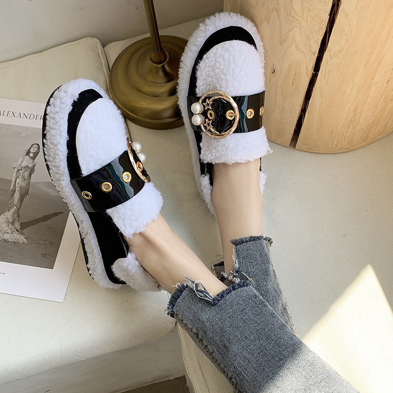 Women's Winter Flat Shoes Korean Suede Short Plush Lining Ladies Casual Sneakers Rubber Non-slip Bottom Winter Warm Womenshoes 46