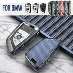 Carbon Fiber Style Car Key Fob Case Cover Holder For BMW 5 7 Series X3 X4 X5 X6 2014 2015 2016 2017 2018 2019 key chains