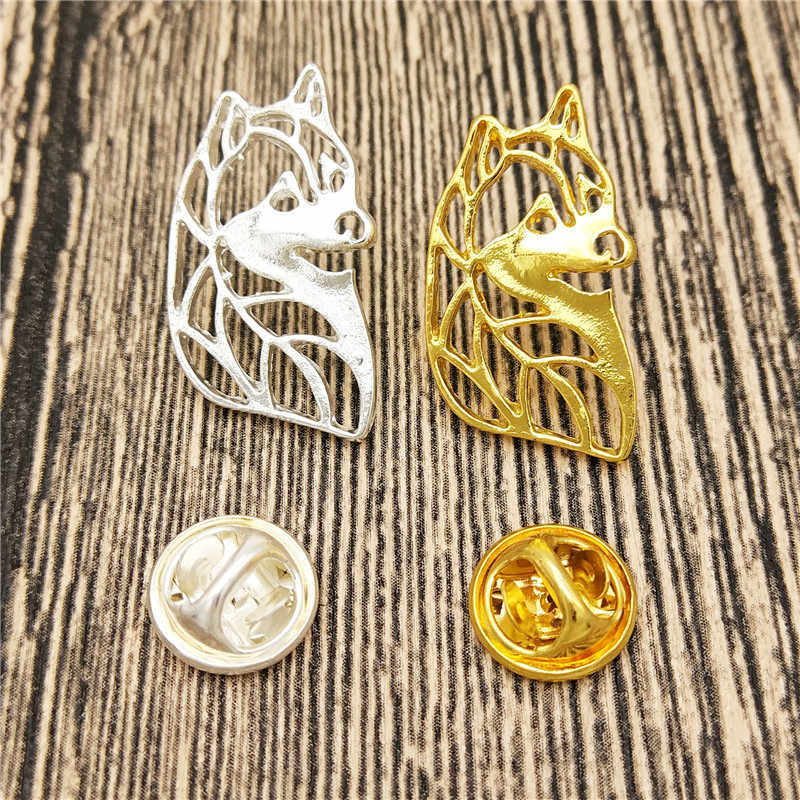 Dropship แฟชั่น Hollow Siberian Husky Dog Brooches และ Pins Collar Pin