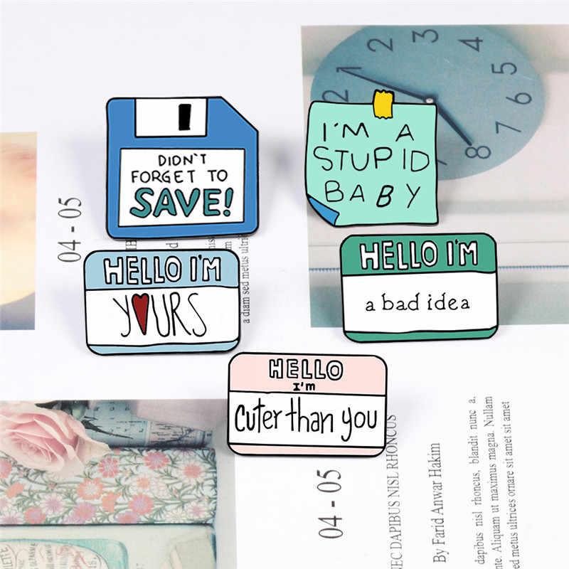 Kawaii Sticky Notes Emaille pins Leuke Bericht Revers pin Papier Memo Badges Broches voor Vrouwen button shirt trui denim Sieraden