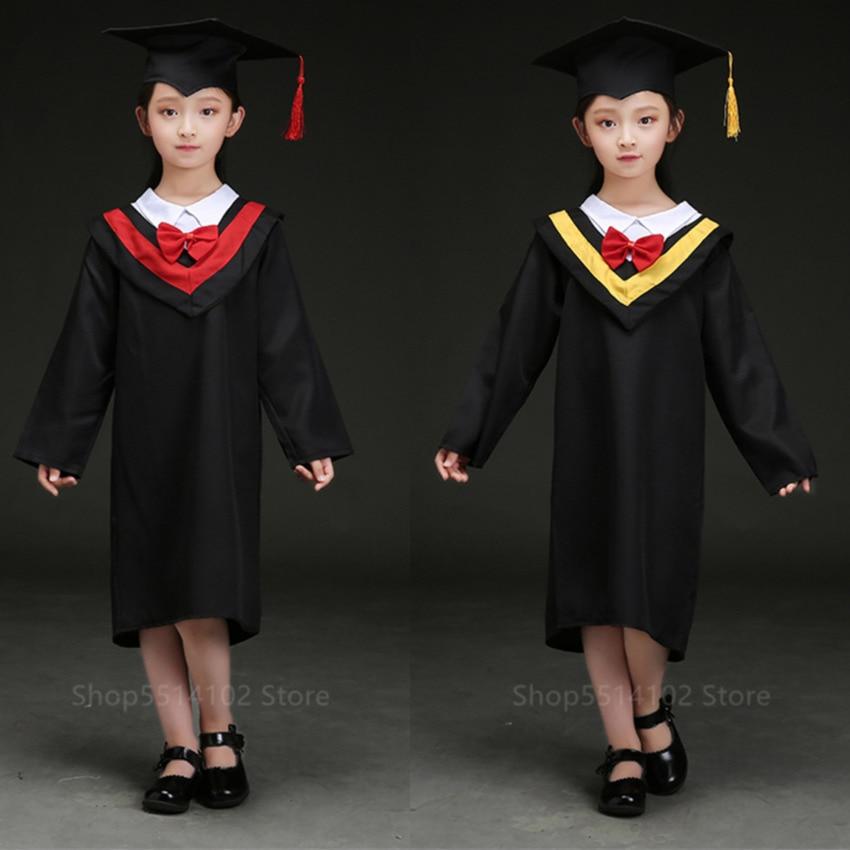Children Graduate Academic Dress Kindergarten Primary School Student Uniform Bachelor Gown With Cap Graduation Party Performance