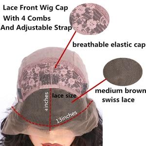 Image 4 - ALICROWN Ombre מתולתל תחרה מול שיער טבעי פאות עם תינוק שיער 13*4 התיכון מנת שאינו רמי שיער תחרה פאות מראש קטף פאות