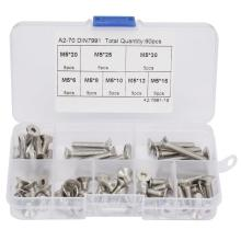 60pcs 1 Box M5*20\M5*6\M5*8\M5*10\M5*12\M5*16\M5*25\M5*30 Hex Socket Flat Head Screw Set