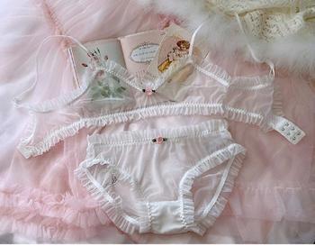 Honviey girly romantic ultra-thin lingerie panties silky transparent fungus ruffled rose bralette sexy mesh underwear bra set embroidered mesh bralette set