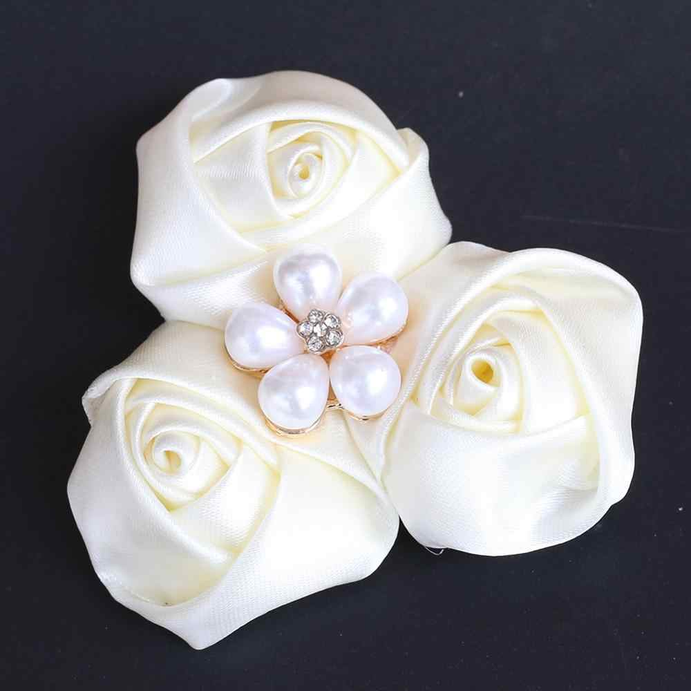 Pernikahan Boutonnieres Prom Upacara Flower Satin Gading Mutiara Korsase Bros Handmade Pernikahan Pengantin Pria Lubang Kancing Kerah Pin XH205-Z